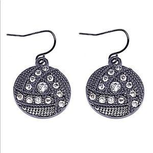 Pewter Crystal Circle Earrings